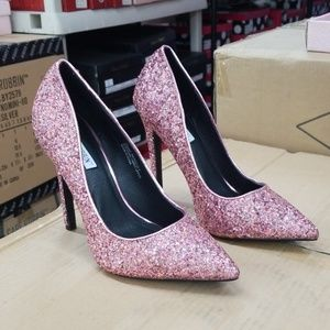 Pink Glitter pumps with stiletto heels